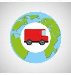 Globe world red delivery van logistic vector