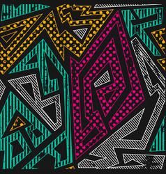Graffiti geometric seamless pattern vector