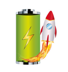 green battery with toy rocket boost up vector image