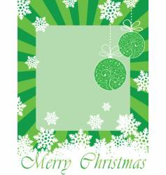 green christmas frame card with toys vector image