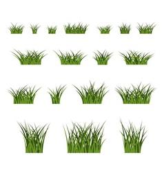 Green grass bushes set nature vector image