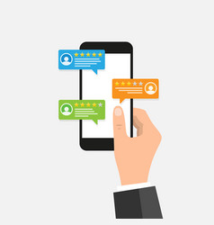 Hand holding mobile smart phone with review vector
