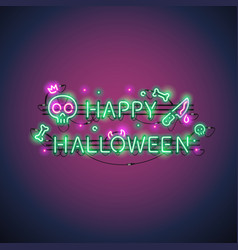 happy halloween neon sign vector image