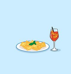 heaped plate pasta juicy orange fruit cocktail vector image