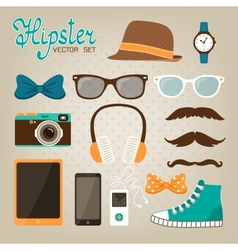 Hipster elements icons set vector image