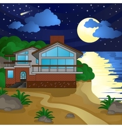 House on beach night moonlight starry sky vector