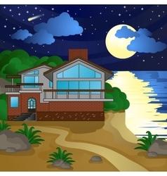House on the beach night moonlight starry sky vector