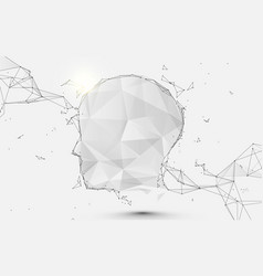human head form lines triangles and particle vector image