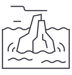 iceberg line icon sign on vector image