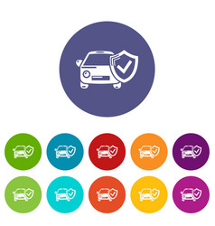 insurance car icons set color vector image