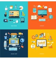 Internet shopping web design promote content vector