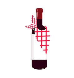 isolated wine bottle icon vector image
