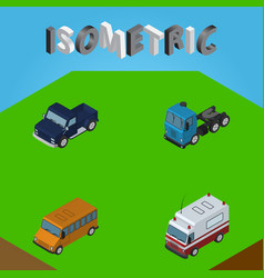 isometric automobile set of suv first-aid truck vector image