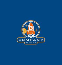 Letter d rocket logo design vector