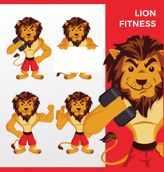 lion fitness mascot character set logo icon vector image