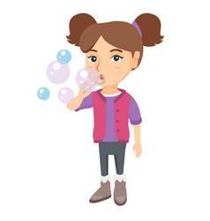 little caucasian girl blowing soap bubbles vector image