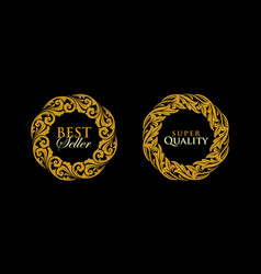 logo round gold emblem frame ornament vector image