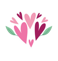love romantic hearts leaf ornament isolated icon vector image