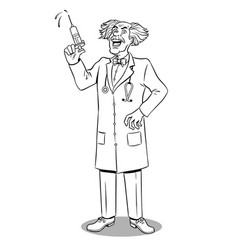 Mad doctor with syringe coloring book vector