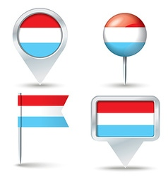Map pins with flag of Luxembourg vector