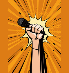 microphone in hand drawn in pop art retro comic vector image