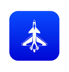 Military fighter jet icon digital blue vector