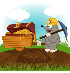 Mole dug treasure vector