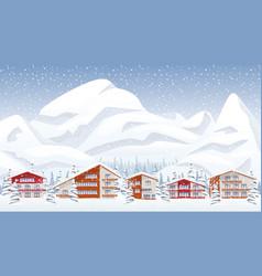 Mountain ski resort in winter vector