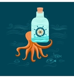 Octopus and ship vector image
