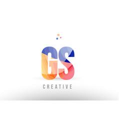 Orange blue alphabet letter gs g s logo icon vector