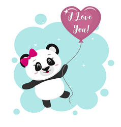 Panda with a pink bow holds a pink ball in the vector