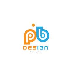 Pb p b orange blue alphabet letter logo vector
