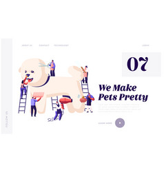 Pet hair salon website landing page styling and vector