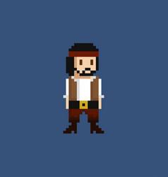 Pixel art - 8 bit pirate crew vector