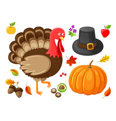 pumpkin and turkey animal thanksgiving vector image