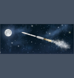 realistic space rocket flying to moon at night vector image