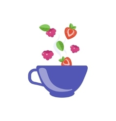 Red fruit tea in blue cup vector