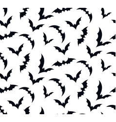 Seamless pattern swarm of bats on white vector