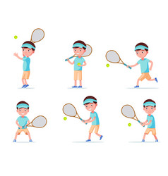 set boy tennis player playing with racket and ball vector image