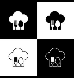 Set chef hat with fork and spoon icon isolated on vector