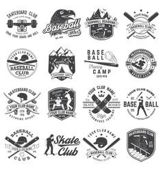 set of baseball and skateboard club badge vector image
