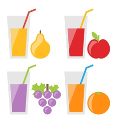 Set of Fresh Fruit Juices vector image