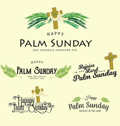 Set of greeting logos for religion holiday palm vector