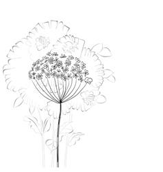 sketch with floral element vector image vector image
