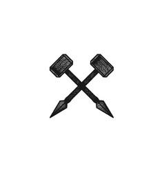 spear hammer classic logo design inspiration vector image