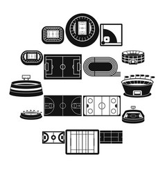 Sport stadium icons set simple style vector