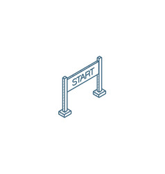 start banner isometric icon 3d line art technical vector image