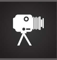 Studio film photo camera icon on black background vector