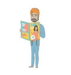 Successful hindu businessman reading a magazine vector