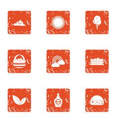 Sunburn icons set grunge style vector